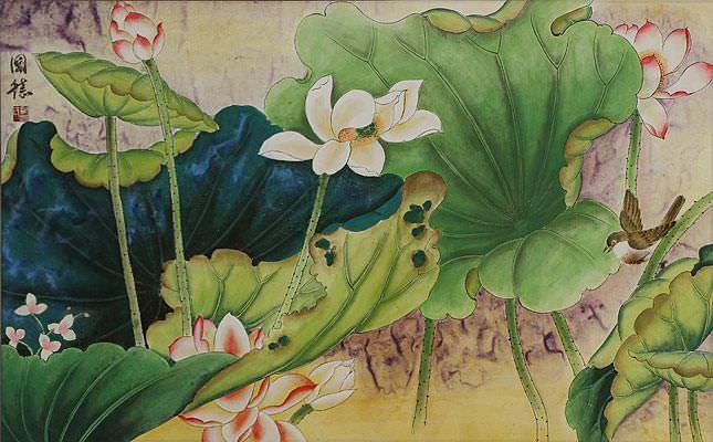 Little Bird in the Lotus - Asian Watercolor Masterpiece Painting