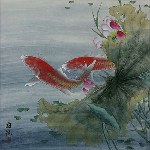 Koi Fish and Lotus Flower - Asian Art Painting