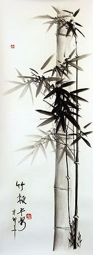 Charcoal Asian Bamboo Artwork