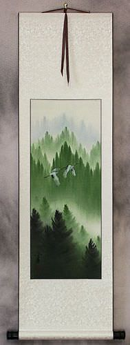 Companions Asian Cranes Landscape - Small Wall Scroll