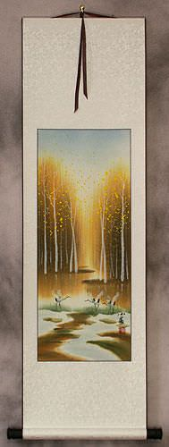 Cranes in Autumn Forest - Small Wall Scroll