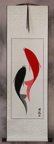 Abstract Yin Yang Fish Wall Scroll