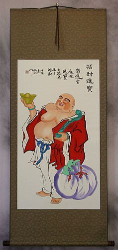 Happy Buddha Brings Treasures Chinese Wall Scroll