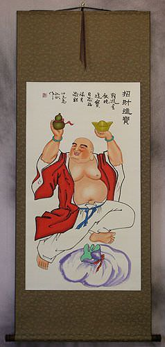 Happy Buddha Brings Treasure Wall Scroll
