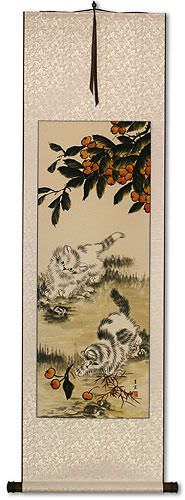 Chinese Kittens - Oriental Art Scroll