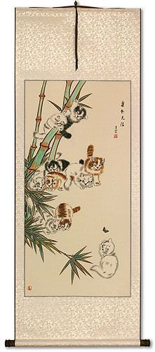 Ten Kittens in the Bamboo Wall Scroll