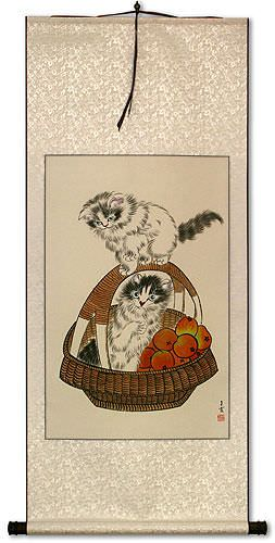 Chinese Kittens In Basket Wall Scroll Cute Animals Cats