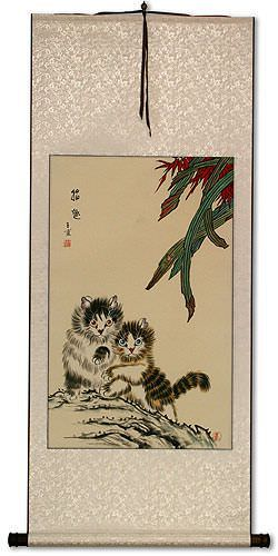 Asian Kittens - Chinese Art Wall Scroll