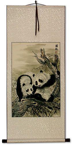 Chinese Panda Wall Scroll Asian Art Bargain Bin