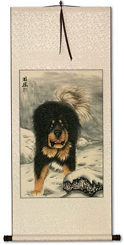 Hearty Dog in the Snow - Chinese Wall Scroll