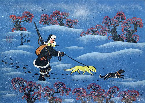 "See how ""Winter Hunting - Chinese Folk Art Painting"" would look after being professionally framed"