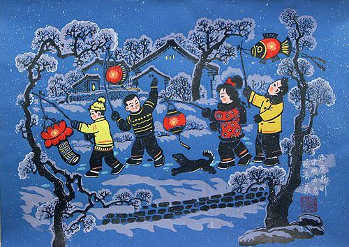 Paper Lanterns Greet the Springtime - Chinese Folk Art Painting