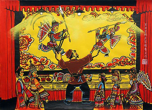 Chinese Leather Shadow Puppet Show - Folk Art Painting