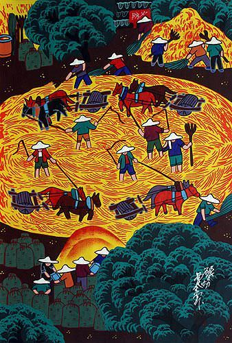 Husking Rice - Chinese Peasant Folk Art Painting