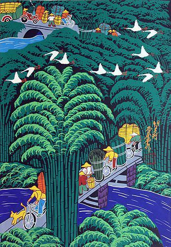 Bamboo Village - Chinese Folk Art Painting