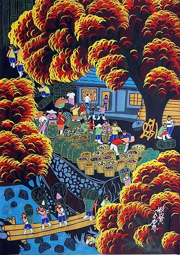 Collecting the Bounty of the Mountain - Chinese Folk Art Painting