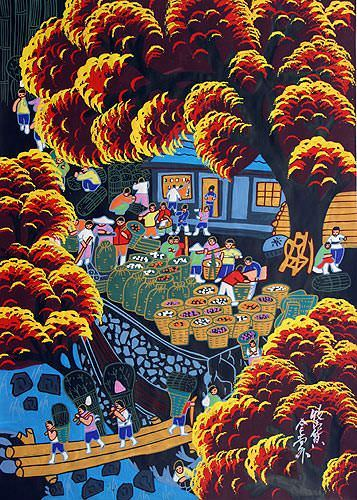 Collecting the Mountain Bounty - Chinese Folk Art Painting