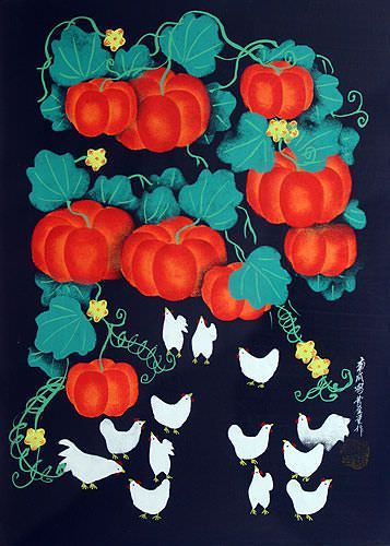 "See how ""Chickens and Pumpkins Folk Art Painting"" would look after being professionally framed"