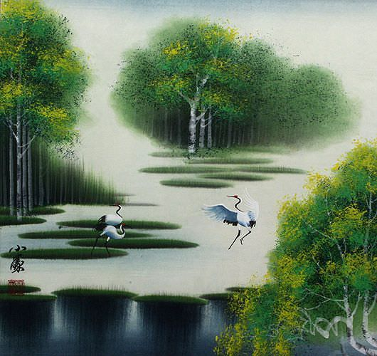 "See how ""Cranes - Spring / Summer Landscape Painting"" would look after being professionally framed"