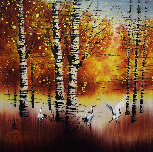 Birch Forest in Autumn - Asian Cranes Landscape Painting