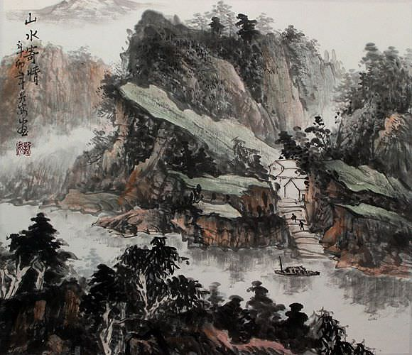 Mountain and River Affection - Landscape Painting