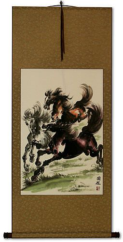 Galloping Horses Wall Scroll
