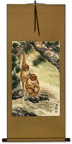Monkeys in Pine Tree - Asian Wall Scroll