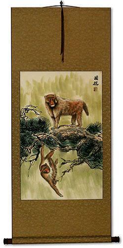 Monkeys on a Branch - Asian Wall Scroll