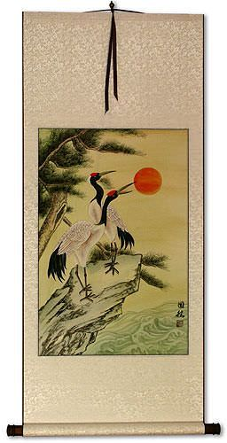 Antique-Style Chinese Cranes Wall Scroll