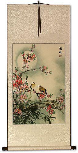 Bird & Peach Blossom - Flower Wall Scroll