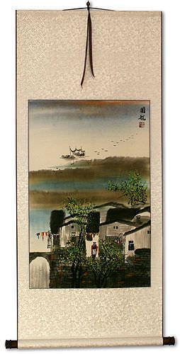Chinese Suzhou River Landscape Wall Scroll