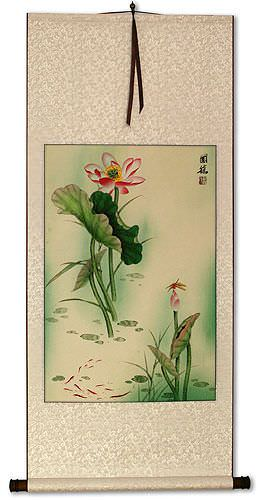 Lotus Flower and Dragonfly Wall Scroll