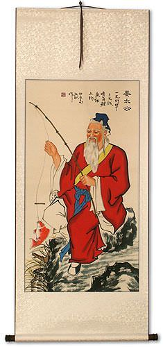 Honest Old Man Fishing Wall Scroll