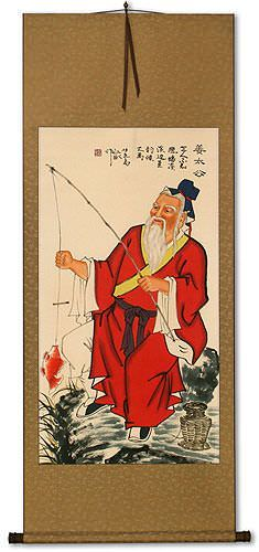 Old Man Fishing - Chinese Wall Scroll