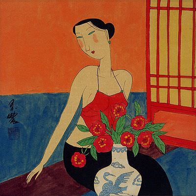 "See how ""Sexy Chinese Woman - Modern Art Painting"" would look after being professionally framed"