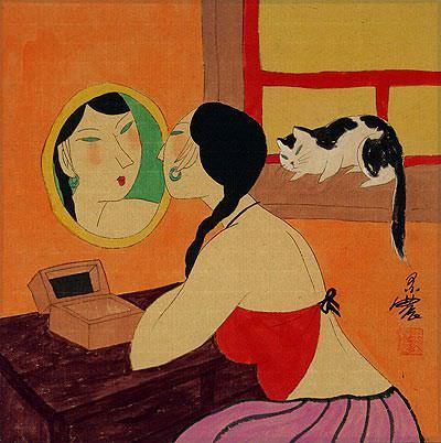 "See how ""Chinese Woman Mirror Gazing - Modern Art Painting"" would look after being professionally framed"