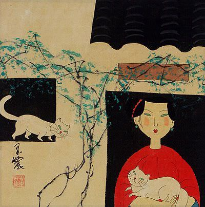 Woman and Cats - Chinese Modern Art Painting