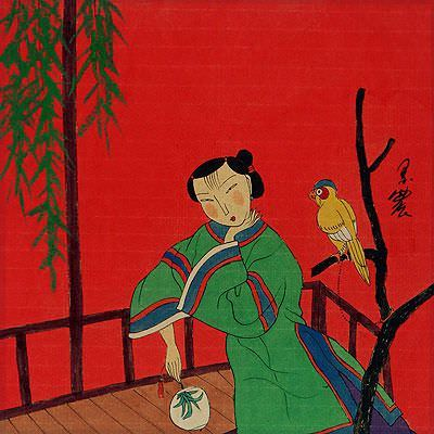 Chinese Woman and Parrot - Modern Art Painting
