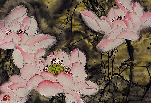 Flowers and Cricket Abstract Chinese Art