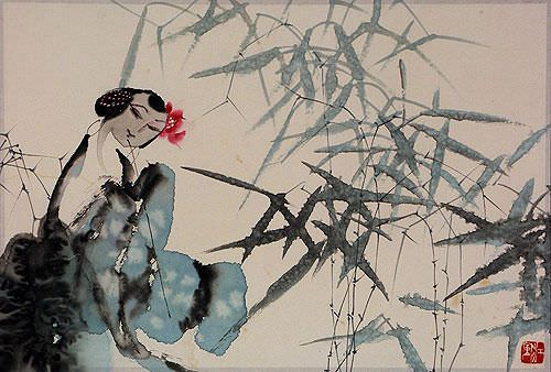 Woman and Bamboo Abstract Chinese Painting