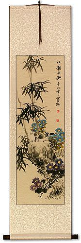 Bamboo Safe and Peaceful - White Wall Scroll