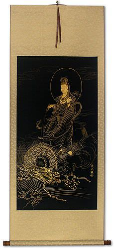 Guanyin Buddha And Dragon Gold Etching Wall Scroll