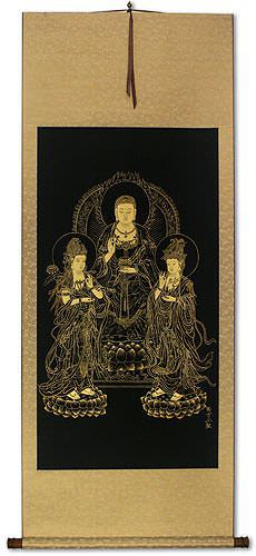 Three Buddha - Gold Etching Wall Scroll