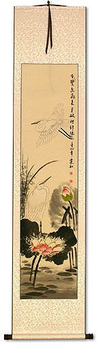 Lily Pond - Fragrant Lotus - Egret Birds and Lotus Flowers Wall Scroll