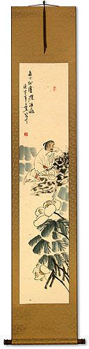 Lotus and Asian Philosopher Man Wall Scroll