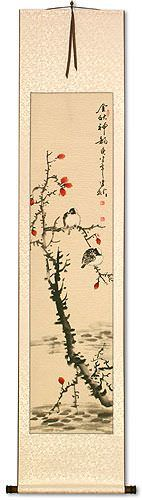 Golden Autumn Charm - Birds and Flower - Wall Scroll