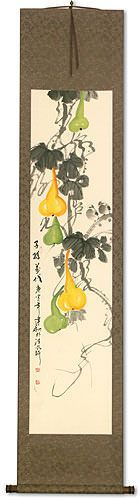 Gourd Vine and Birds - Chinese Wall Scroll
