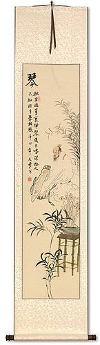 Musician Playing Harp / Zither Wall Scroll