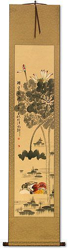 Mandarin Ducks & Lotus Flowers - Together Forever - Chinese Wall Scroll