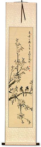 Birds in Perched on Loquat Tree - Chinese Wall Scroll
